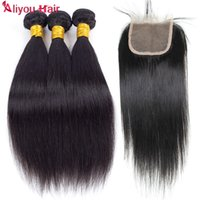 Aliyou HumanNatural Color Brazilian Hair Weave Bundles Straight 100% Unprocessed Indian Peruvian Malaysian Hair Extensions DHL Frete Grátis
