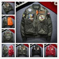chaqueta de aire de motocicleta al por mayor-2017 Nueva NASA Bomber Chaqueta Hombres Ma-1 Chaqueta de Vuelo Piloto de la Fuerza Aérea Macho Del Ejército Verde Militar motocicleta Chaquetas Abrigos S-3XL