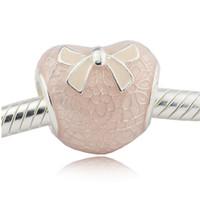 cuentas de arco de metal al por mayor-Pink Bow Lace Heart Rose Pink Esmalte beads Se adapta a la cadena de Pandora Pulsera de plata de ley que hace encantos de la joyería para mujer DIY beads