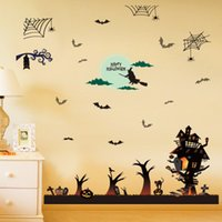 Wholesale Large Jacks - New Large Size Witch Haunted House Jack-o-lanterns Halloween Decorative Wall Decal Mural DIY Festival Wall Sticker for Home Decoration