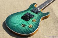 Wholesale Green Bird Guitar - Custom 24 Paul Reed Rare Qulit Maple Top Trans Light Green Electric Guitar Double Locking Tremolo Bridge ,White MOP Birds ,Black Hardware