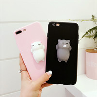 Wholesale 3D Squishy Cartoon Cat Silicone Phone Case for iPhone Fidget Decompression TPU Cover Stress Relieve Squeeze Shell