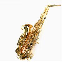 Wholesale copper alto saxophone - wholesale Alto Eb Falling Tune E Sax Wind Instrument Saxophone copper Gold Lacquer saxofone Saxe alto Professional Musical Instrument