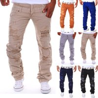 Wholesale Designer Mens Cargo Pants - Wholesale- 6 Color 2016 New Famous Brand Vintage Men Designer Casual Hole Ripped Jeans Mens Fashion Skinny Denim Cargo Pants Hip-hop Male