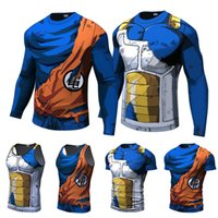 langarmshirt drache großhandel-T-shirts für Männer Dragon Ball Z 3D Druck Anime Sommer T Shirts Lange Kurzarm Bluse Vegeta Goku Lustige Cosplay Tees Streetwear