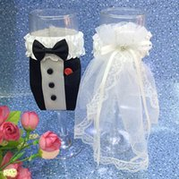 Wholesale Bride Groom Wine Glasses - Wholesale- 6Sets lot Handmade Fashion Wine Glass Bride And Groom Covers With Rhinestone Wedding Party Cup Decoration
