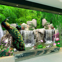 Wholesale Wallpaper Photography Backgrounds - Wholesale- Custom 3D Photo Wallpaper Bamboo Forest Rockery Peacock Background Photography Backdrop Living Room Bedroom Non-woven Wallpaper