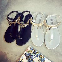 Wholesale Simple Thong - 207 new summer Thongs female summer flat with simple all-match toe female students Rome beach shoes