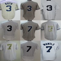 Wholesale Womens Army Shorts - Newest Mens Womens Kids Toddlers New York #7 Mickey Mantle #3 Babe Ruth White Grey Cool Flex Base Baseball Jerseys Hot sale