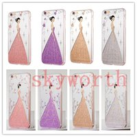 Wholesale Wholesale Wedding Dresses Plus - For iPhone 7 Plus 5 6 6S Plus Angel Girl Wedding Dress Soft TPU phone Case Cover Bling Glitter Electroplating