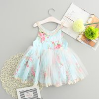 Wholesale Tutu Dresses For Baby Blue - Princess Girls Floral Lace Embroidery Sundress Tulle Tutu Ruffles Blue Color Dress For Baby Kids Retail