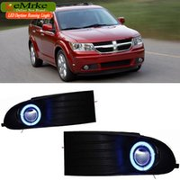 EEMRKE Car Styling Per Dodge Journey JC 2009-2011 2in1 LED Angel Eyes DRL Fendinebbia Luci di marcia diurne Lampadine alogene H11 55W