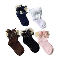 Wholesale sock bows - cute lace bow solid socks fashion calcetines kids korean autumn socks girls baby kids children socks 5 color available