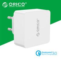 beyaz usb şarj cihazı uk toptan satış-Toptan-Orico 1m Free Mikro USB ile Qualcomm Quick Charge 3.0 ile 1 Liman Seyahat Duvar Şarj Kablo AB / ABD / İngiltere Tür Plug-Beyaz (QTW-1U)