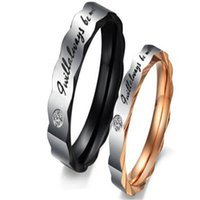 Wholesale Romantic Mens - DHL Stainless Steel Couple Rings for Wedding Mens Ring Unique Design His And Her Promise Couple Ring Valentine's Day Gift Romantic Jewelry