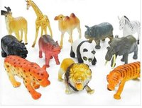 Wholesale Toy Wild Animals Plastic - 12Pcs Large Wild Zoo Animals Model Figure Kids Toy - Panda Camel Elephant Zebra Leopard Tiger Lion Giraffe Hippo Rhino Antelope