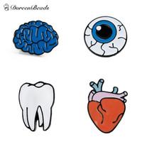 Wholesale Human Eyeball - Wholesale- DoreenBeads Design Personality Brooch Tooth  Human Anatomical Heart  Cerebrum Brain   Eyeball Enamel, 1 Piece