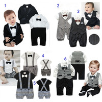 Wholesale Suits For Boy Kids - Kids Baby Suits Set 4 Styles Formal Jumpsuits Suit and Tie Wedding Ring Bearer Tuxedo Dinner Jacket for Boys MD097