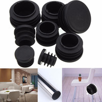 Wholesale Plastic End Caps - Wholesale- 10pcs Black Plastic Furniture Leg Plug Chair Legs Foot Blanking End Caps Insert Plugs Bung For Round Pipe Tube 8 Sizes 16-35mm