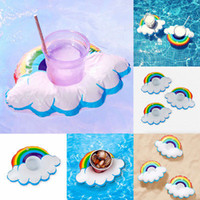 INS HOT Rainbow Inflatable Drink Cup Holder Beverage Holders Floating Boats Swimming Pool Party Decoração Toy Supplies Beach Phone Stand