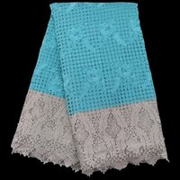 Wholesale Teal Cotton Cord - Free shipping (5yards pc) Elegant design African guipure lace fabric teal green and gold big cord lace for party dress WLE02