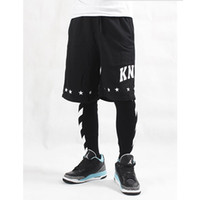 Wholesale Pattern Leggings Xl - off white stripe printed hip-hop lovers mens hiphop legging ktz fashion brand man leggings free shipping