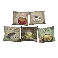 Wholesale coffee cushion covers resale online - Retro Coffee Pattern Linen Cushion Cover Home Office Sofa Square Pillow Case Decorative Cushion Covers Pillowcases Without Insert x18Inch