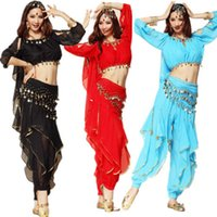 Wholesale Women Costumes Bloomers - Best selling Lantern Top & Gold Wavy Pant Bloomers & Hip Scarf &Headband Belly Dance Costume