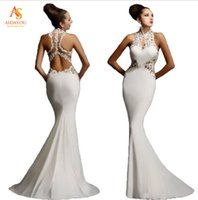Wholesale Dress For Party Reception - Formal Dresses Applique Round Collar Bobtail Backless Evening Wear for Ball and Dancing Party Dinner Evening Reception ouc266
