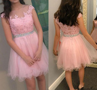 Wholesale Real Mini Lace Prom Dress - 2017 Latest Pretty Pink Min Short Homecoming Dresses Zipper Back Appliques A Line Tulle Satin Formal Cocktail Party Dresses Prom Dresses