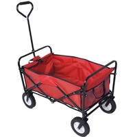 Collapsible Folding Wagon Cart Garden Buggy Shopping Beach Toy Sports Red Blue