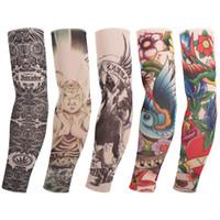 Wholesale Free Sunscreen - Tattoo cuffs Flower arm cuff Tattoo breathable sunscreen cuff