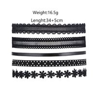 piknik aksesuarları toptan satış-European and American style gothic 5 pieces lot black women's short lace rope chokers necklaces jewelry accessories