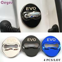 Wholesale Pajero Door - Car door lock cover case EVO emblems badge for mitsubishi asx lancer 9 10 l200 pajero colt door lock protector car styling