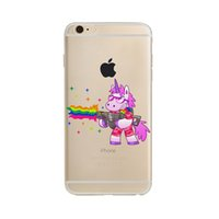 Wholesale Yellow Hippo - Back Cover For Apple Iphone5 5s se 6 6s 6plus 6splus 7 7plus TPU Capa Cute Hippo Rainbow Unicorn Horse Clear TPU Soft Phone Case