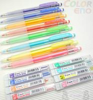 Wholesale Mechanical Pencil Leads - Wholesale-Pilot Color Eno 0.7mm Automatic Mechanical Pencil 8 Color set Plus 8 Tubes Leads