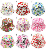 şapka stilleri toptan satış-30 Stilleri Çocuk Kova Şapka Gilligan Çocuklar Cimri Brim Şapka Çiçek Baskı Balıkçı Plaj Güneşlik Satış Katlanır Bowler Caps