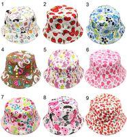 Wholesale Top Hat Sale Kids - 30 Styles Children Bucket Hats Gilligan Kids Stingy Brim Hats Floral Printing Fisherman Beach Sun Visor Sale Folding Bowler Caps