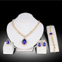Wholesale peacock ring bracelet for sale - Group buy Fashion Earring Ring Bracelet Necklace Sets KC Gold Alloy Leaf Chain Blue Stones Rhinestone Pendant Necklace Women Party Jewelry Set