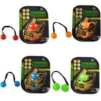 Wholesale Wholesale Kids Science Free Shipping - 4 Colors Newest Yo-yo Skill toy Thumb Chucks Fidget Toys Bundle Control Roll Game Glow in Dark Finger Anti Stress Toys DHL free shipping