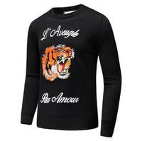 Wholesale Tiger Animal Print Shirts - Latest Tiger embroidery Winter Casual Sweater Brand Clothing Long Sleeve Mens Sweaters classic Shirt Pullover O-Neck Knitwear D20