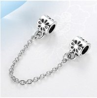 Wholesale Wholesale Pandora Cherry Blossom - 30pcs Cherry Blossom Flower Design Charm Safety Chain European Floating Charms Silver Beads For Pandora Snake Chain Bracelet DIY Jewelry