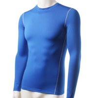 Wholesale Long Sleeve Thermal Wholesale - Wholesale- Men Plush Base Layer Thermal Underwear Long Sleeve Winter Undershirt T Shirt Tops