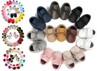 Wholesale Canvas Leather Wholesale - 150 colors New Baby First Walker Shoes moccs Baby moccasins soft sole moccasin leather Colorful Bow Tassel booties toddlers shoes