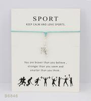 regalos de gimnasia al por mayor-Tono de plata mejor gimnasia pulseras del encanto brazaletes regalos para mujeres niñas declaración de amistad ajustable joyería con tarjeta
