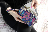 Wholesale Purple Art Canvas Large - Canvas art female hand bag three layers lady casual national handbags wallet domestic mobile phone package large capacity key change purse