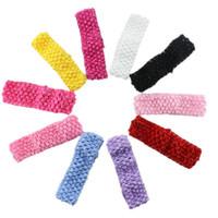 вязание крючком для девочки оптовых-Wholesale- 10pcs/lot Baby Girls Stretchy Elastic Hair Band Newborn Infant Baby Girl TuTu Crochet Headband For Kids Hair Accessories
