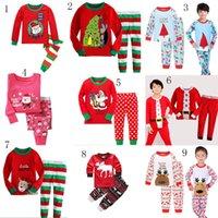 Wholesale Kids Santa Claus Pajamas - Baby Christmas pajamas outfits Kids Christmas deer Santa Claus Top+pants 2pcs sets children Xmas Clothing Sets 24 styles C2778
