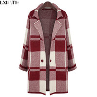 Wholesale XL Long Sleeve Sweater Women Autumn Winter Thick Plaid Long Knitted Female Cardigan Women s Trench Plus Size Coat Vestidos