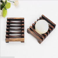 Wholesale hand wash dishes - Vintage Wooden Soap Dish Plate Tray Holder Box Case Shower Hand washing 10.8cm*8cm*2.4cm Bathroom Accessories